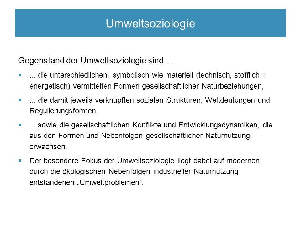 Umweltsoziologie Gegenstand der Umweltsoziologie sind...