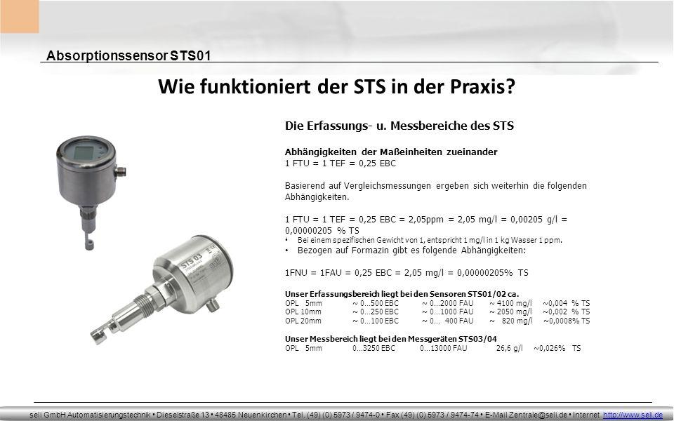 Absorptionssensor STS01 seli GmbH Automatisierungstechnik Dieselstraße 13 48485 Neuenkirchen Tel. (49) (0) 5973 / 9474-0 Fax (49) (0) 5973 / 9474-74 E