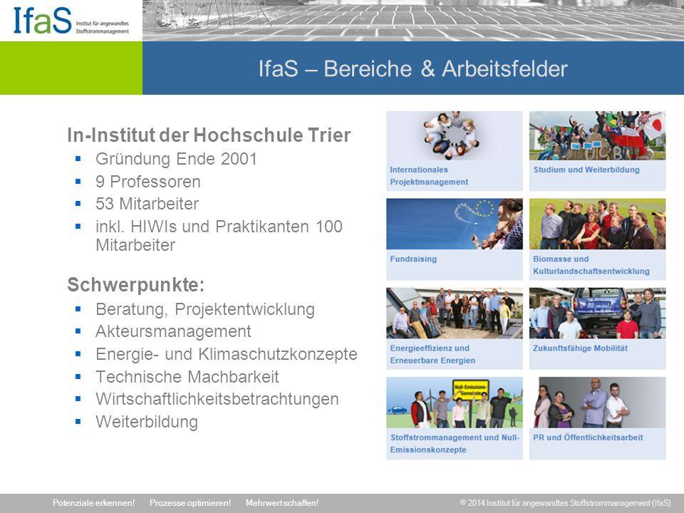 © 2014 Institut für angewandtes Stoffstrommanagement (IfaS) Potenziale erkennen!Prozesse optimieren!Mehrwert schaffen.