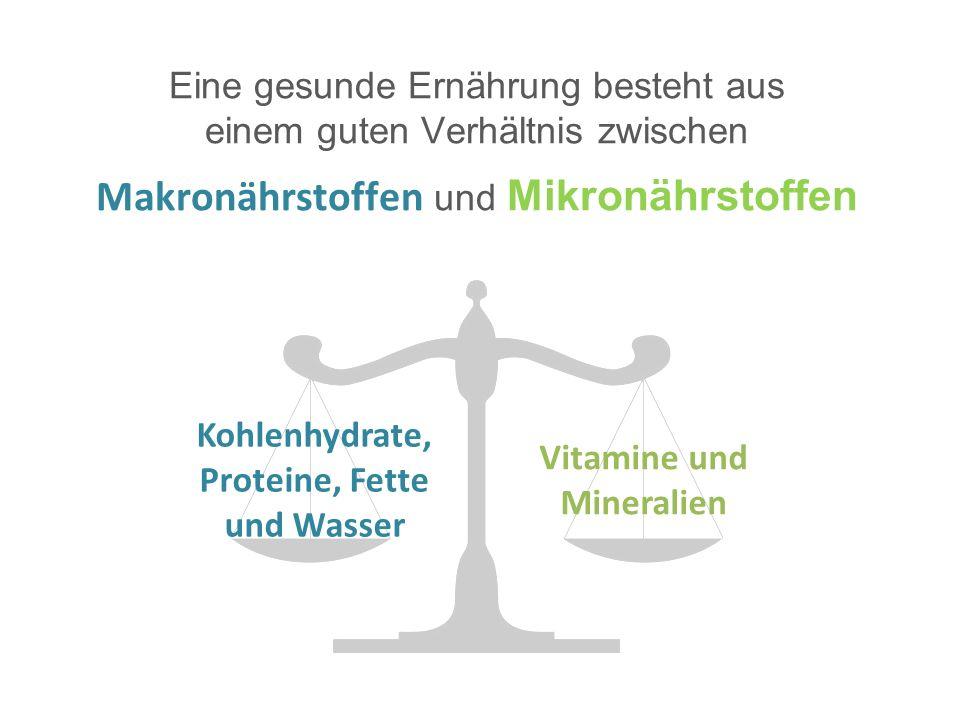 Eine gesunde Ernährung besteht aus einem guten Verhältnis zwischen Makronährstoffen und Mikronährstoffen Kohlenhydrate, Proteine, Fette und Wasser Vitamine und Mineralien