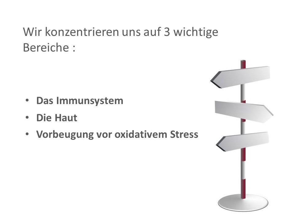 Das Immunsystem Die Haut Vorbeugung vor oxidativem Stress Wir konzentrieren uns auf 3 wichtige Bereiche :