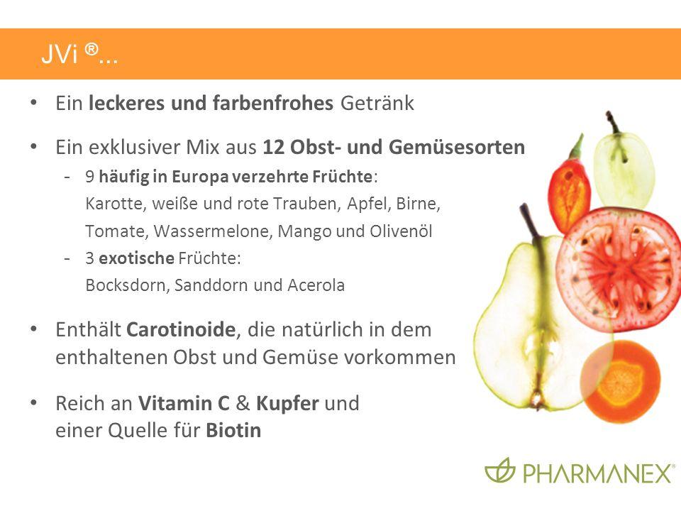 Ein leckeres und farbenfrohes Getränk Ein exklusiver Mix aus 12 Obst- und Gemüsesorten - 9 häufig in Europa verzehrte Früchte: Karotte, weiße und rote Trauben, Apfel, Birne, Tomate, Wassermelone, Mango und Olivenöl - 3 exotische Früchte: Bocksdorn, Sanddorn und Acerola Enthält Carotinoide, die natürlich in dem enthaltenen Obst und Gemüse vorkommen Reich an Vitamin C & Kupfer und einer Quelle für Biotin JVi ®...