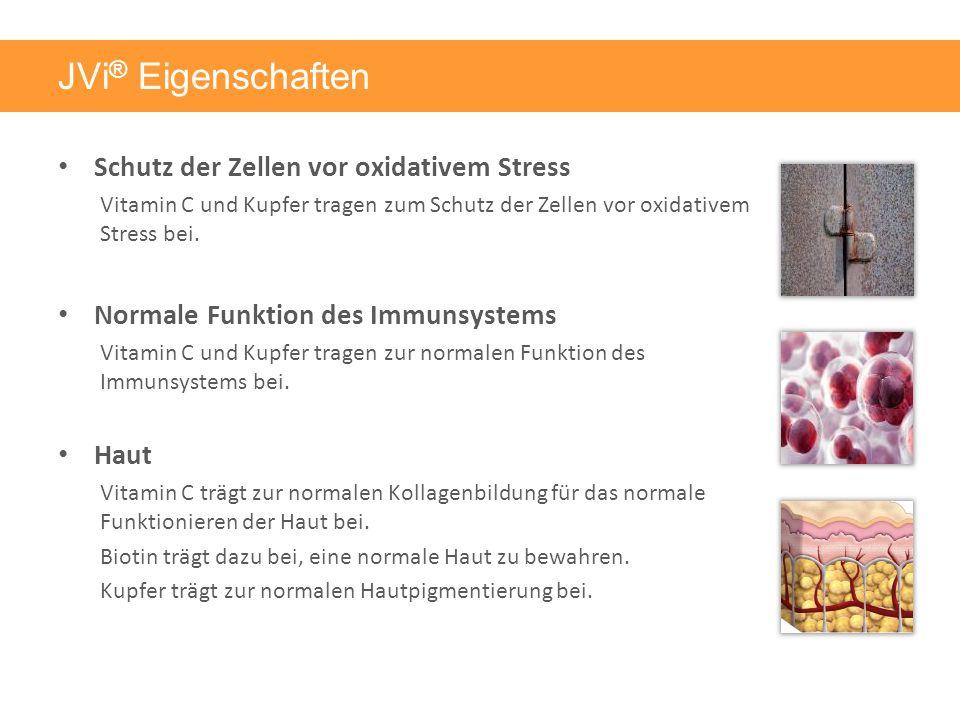 JVi ® Eigenschaften Schutz der Zellen vor oxidativem Stress Vitamin C und Kupfer tragen zum Schutz der Zellen vor oxidativem Stress bei.