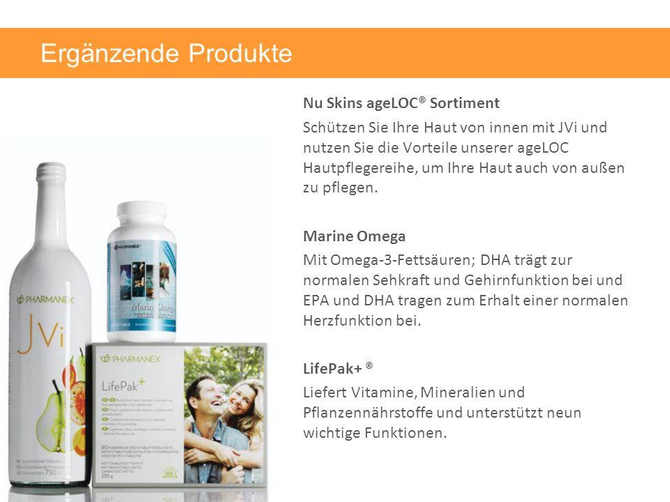 Ergänzende Produkte Nu Skins ageLOC® Sortiment Schützen Sie Ihre Haut von innen mit JVi und nutzen Sie die Vorteile unserer ageLOC Hautpflegereihe, um Ihre Haut auch von außen zu pflegen.