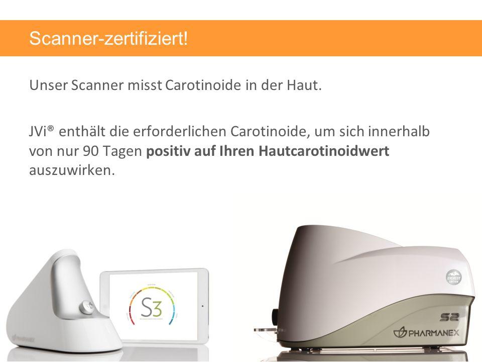 Scanner-zertifiziert. Unser Scanner misst Carotinoide in der Haut.
