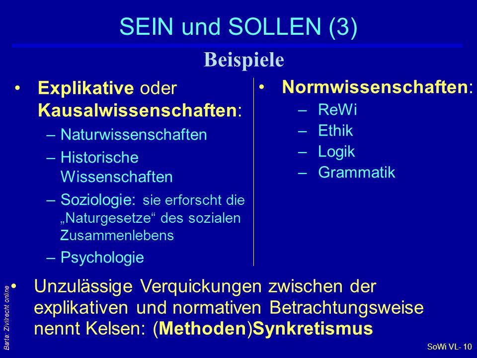 SoWi VL- 10 Barta: Zivilrecht online SEIN und SOLLEN (3) Explikative oder Kausalwissenschaften: –Naturwissenschaften –Historische Wissenschaften –Sozi