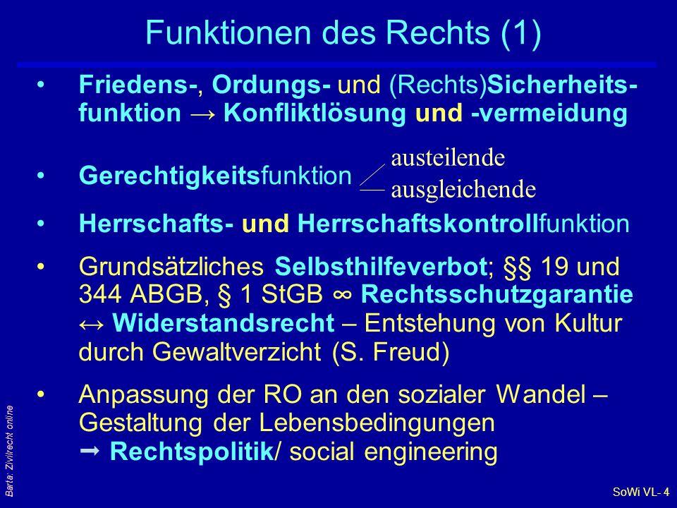 SoWi VL- 4 Barta: Zivilrecht online Funktionen des Rechts (1) Friedens-, Ordungs- und (Rechts)Sicherheits- funktion → Konfliktlösung und -vermeidung G