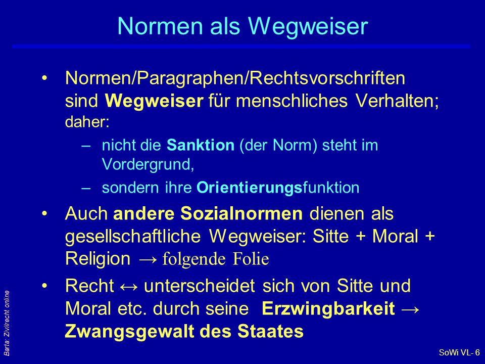 SoWi VL- 6 Barta: Zivilrecht online Normen als Wegweiser Normen/Paragraphen/Rechtsvorschriften sind Wegweiser für menschliches Verhalten; daher: –nich