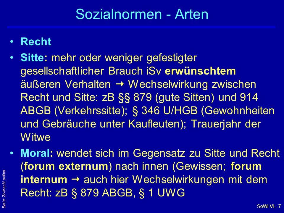 SoWi VL- 7 Barta: Zivilrecht online Sozialnormen - Arten Recht Sitte: mehr oder weniger gefestigter gesellschaftlicher Brauch iSv erwünschtem äußeren