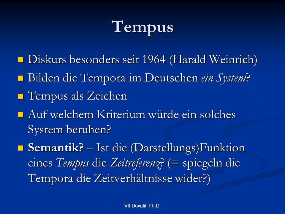 Vít Dovalil, Ph.D. Tempus Diskurs besonders seit 1964 (Harald Weinrich) Diskurs besonders seit 1964 (Harald Weinrich) Bilden die Tempora im Deutschen