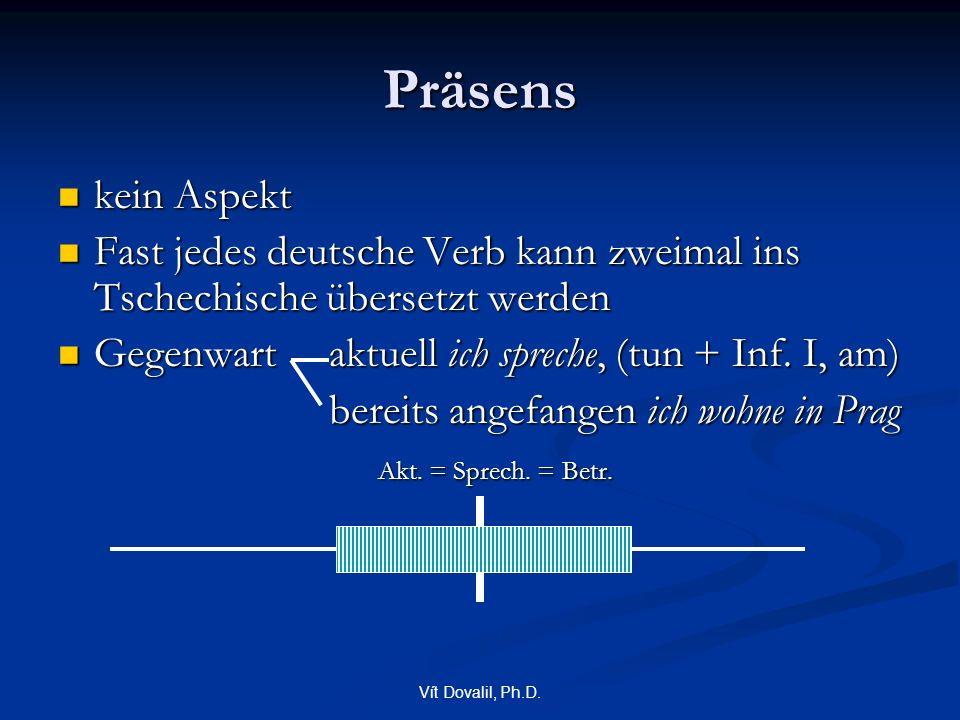 Vít Dovalil, Ph.D. Präsens kein Aspekt kein Aspekt Fast jedes deutsche Verb kann zweimal ins Tschechische übersetzt werden Fast jedes deutsche Verb ka