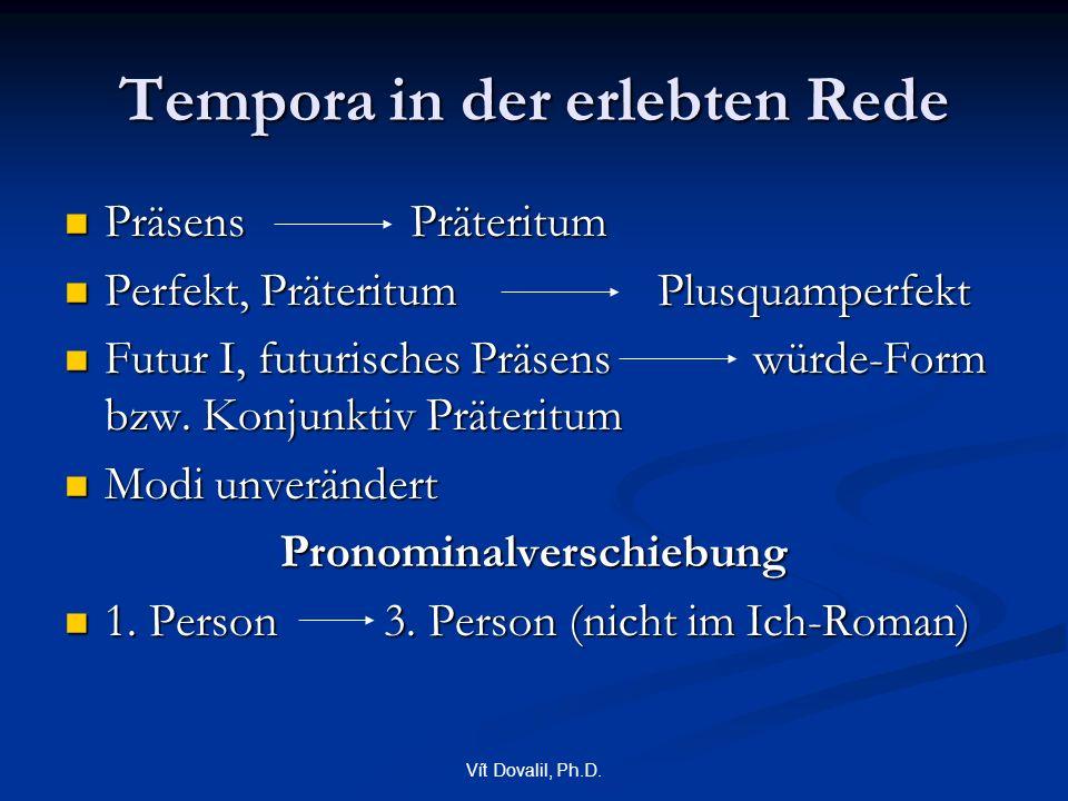 Vít Dovalil, Ph.D. Tempora in der erlebten Rede Präsens Präteritum Präsens Präteritum Perfekt, Präteritum Plusquamperfekt Perfekt, Präteritum Plusquam