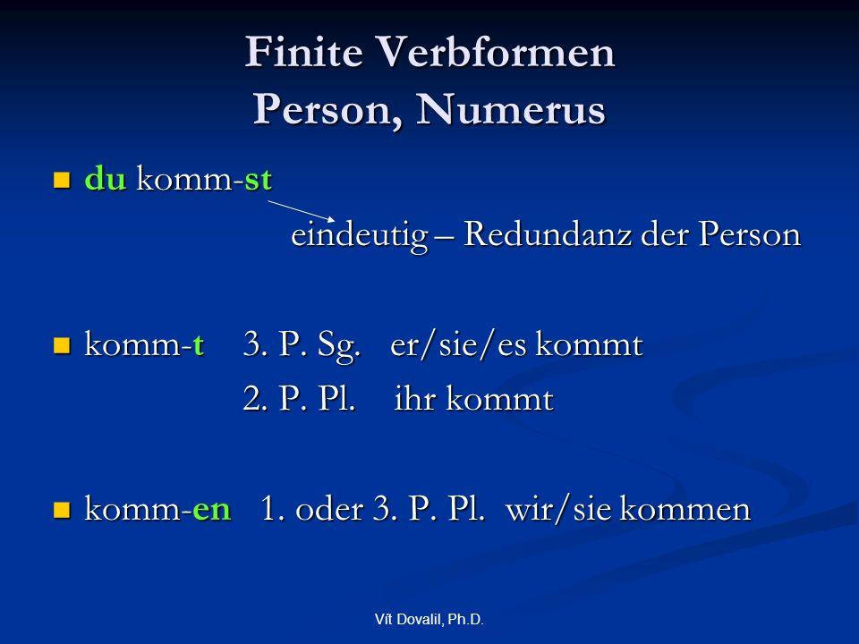 Vít Dovalil, Ph.D. Finite Verbformen Person, Numerus du komm-st du komm-st eindeutig – Redundanz der Person eindeutig – Redundanz der Person komm-t 3.