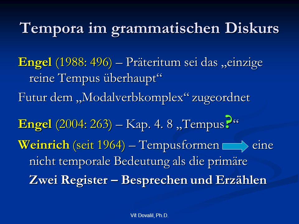 """Vít Dovalil, Ph.D. Tempora im grammatischen Diskurs Engel (1988: 496) – Präteritum sei das """"einzige reine Tempus überhaupt"""" Futur dem """"Modalverbkomple"""