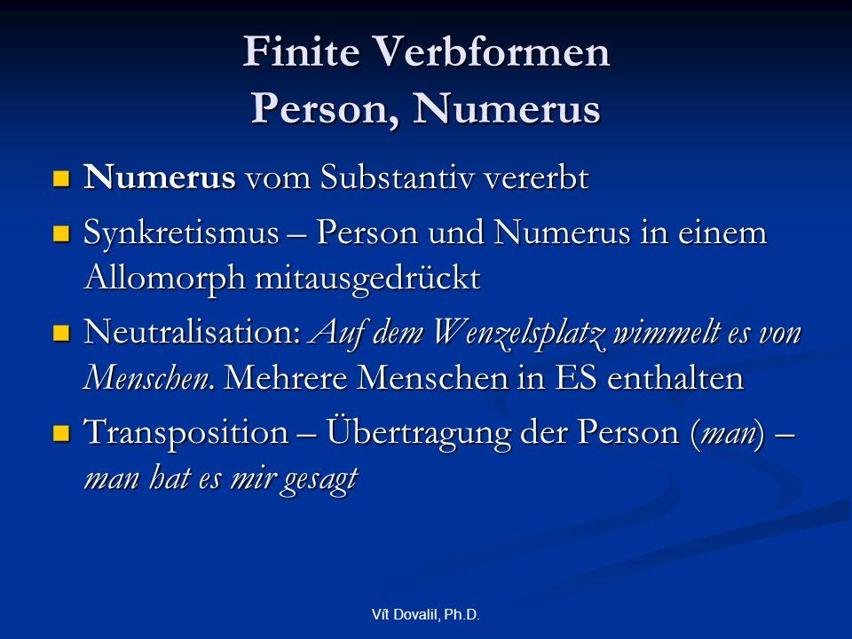 Vít Dovalil, Ph.D. Finite Verbformen Person, Numerus Numerus vom Substantiv vererbt Numerus vom Substantiv vererbt Synkretismus – Person und Numerus i