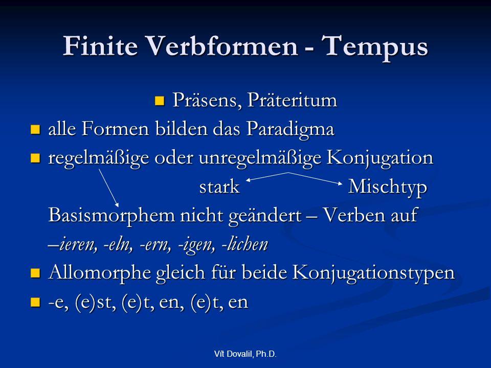 Vít Dovalil, Ph.D. Finite Verbformen - Tempus Präsens, Präteritum Präsens, Präteritum alle Formen bilden das Paradigma alle Formen bilden das Paradigm