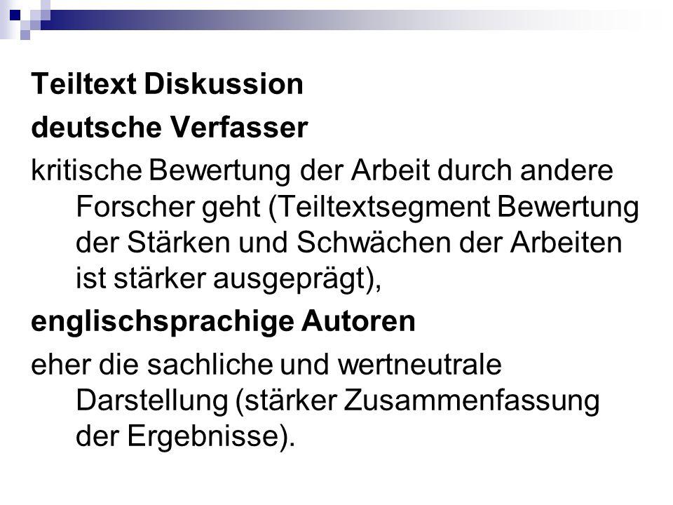 Teiltext Diskussion deutsche Verfasser kritische Bewertung der Arbeit durch andere Forscher geht (Teiltextsegment Bewertung der Stärken und Schwächen