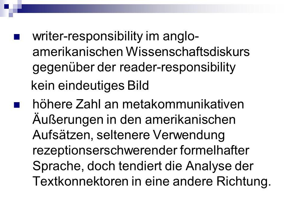 writer-responsibility im anglo- amerikanischen Wissenschaftsdiskurs gegenüber der reader-responsibility kein eindeutiges Bild höhere Zahl an metakommu