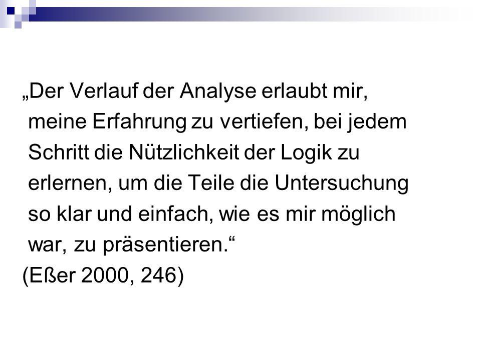"""""""Der Verlauf der Analyse erlaubt mir, meine Erfahrung zu vertiefen, bei jedem Schritt die Nützlichkeit der Logik zu erlernen, um die Teile die Untersuchung so klar und einfach, wie es mir möglich war, zu präsentieren. (Eßer 2000, 246)"""