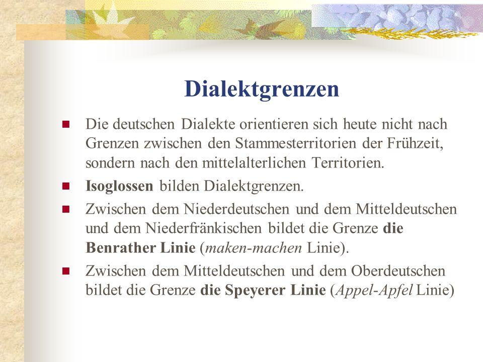 Dialektgrenzen Die deutschen Dialekte orientieren sich heute nicht nach Grenzen zwischen den Stammesterritorien der Frühzeit, sondern nach den mittelalterlichen Territorien.