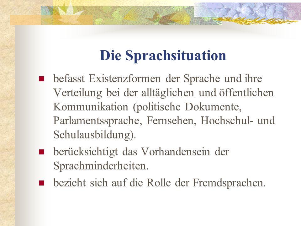 Die Sprachsituation befasst Existenzformen der Sprache und ihre Verteilung bei der alltäglichen und öffentlichen Kommunikation (politische Dokumente,