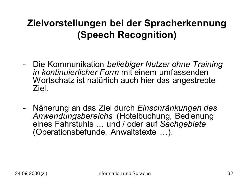24.09.2006 (zi)Information und Sprache32 Zielvorstellungen bei der Spracherkennung (Speech Recognition) -Die Kommunikation beliebiger Nutzer ohne Training in kontinuierlicher Form mit einem umfassenden Wortschatz ist natürlich auch hier das angestrebte Ziel.
