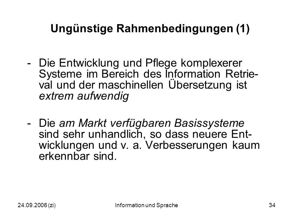 24.09.2006 (zi)Information und Sprache34 Ungünstige Rahmenbedingungen (1) -Die Entwicklung und Pflege komplexerer Systeme im Bereich des Information Retrie- val und der maschinellen Übersetzung ist extrem aufwendig -Die am Markt verfügbaren Basissysteme sind sehr unhandlich, so dass neuere Ent- wicklungen und v.