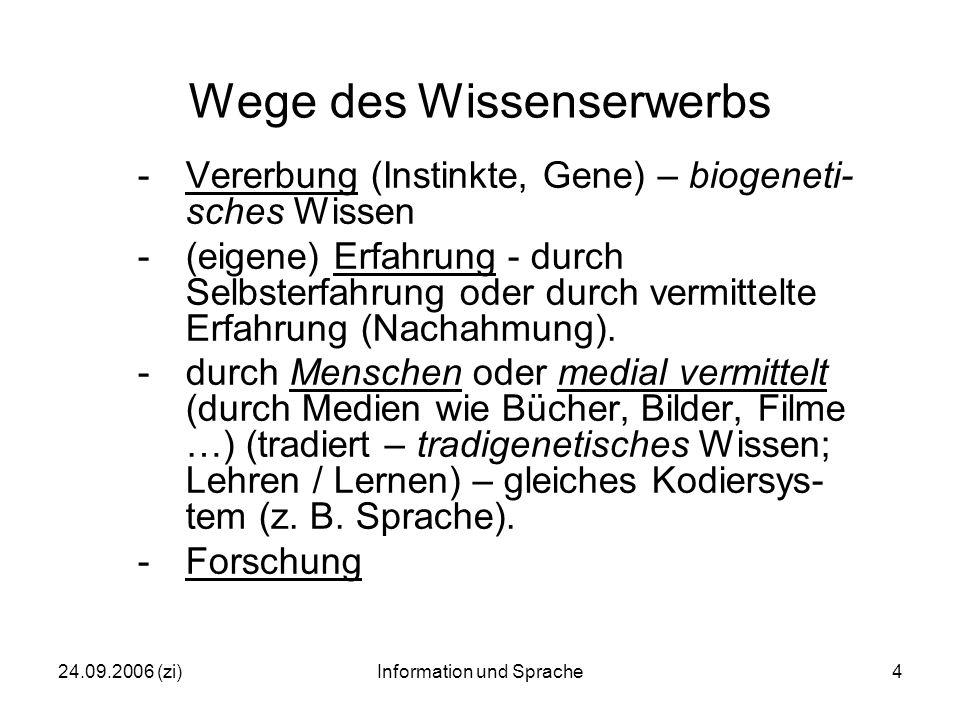 24.09.2006 (zi)Information und Sprache4 Wege des Wissenserwerbs -Vererbung (Instinkte, Gene) – biogeneti- sches Wissen -(eigene) Erfahrung - durch Selbsterfahrung oder durch vermittelte Erfahrung (Nachahmung).