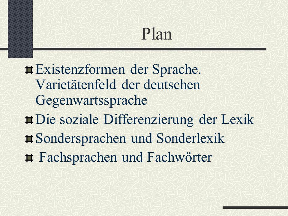 Plan Existenzformen der Sprache.