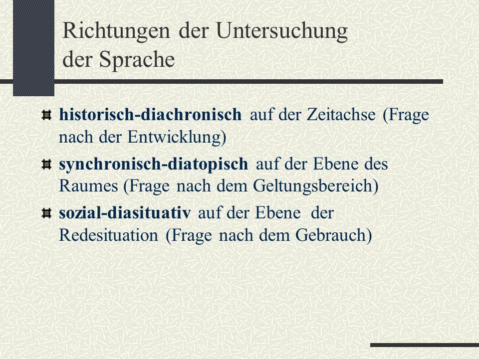Richtungen der Untersuchung der Sprache historisch-diachronisch auf der Zeitachse (Frage nach der Entwicklung) synchronisch-diatopisch auf der Ebene des Raumes (Frage nach dem Geltungsbereich) sozial-diasituativ auf der Ebene der Redesituation (Frage nach dem Gebrauch)