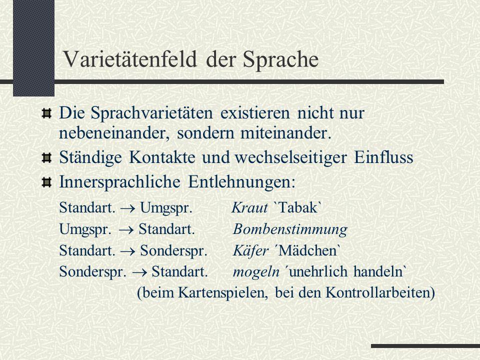 Diasystem / Diasubsysteme (nach E.Coseriu) Diaphasische Unterschiede / funktionale Sprachvarietäten, Funktiolekte Diatopische Unterschiede (raumgebundene) / Dialekte, Regiolekte Diastratische Unterschiede (an eine soziale Gruppe gebundene) / Soziolekte