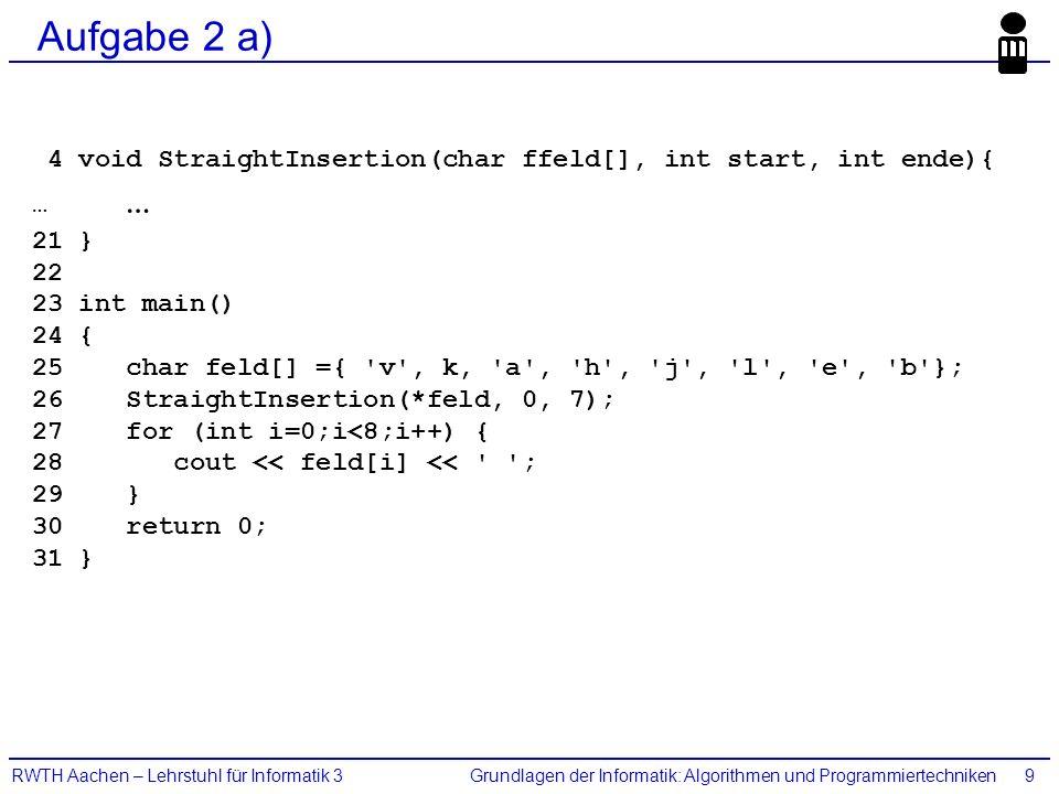 Grundlagen der Informatik: Algorithmen und ProgrammiertechnikenRWTH Aachen – Lehrstuhl für Informatik 39 Aufgabe 2 a) 4 void StraightInsertion(char ff