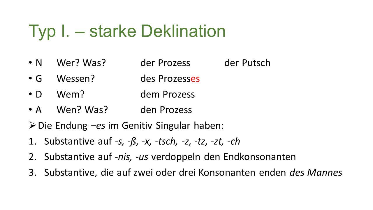 Typ I. – starke Deklination NWer.