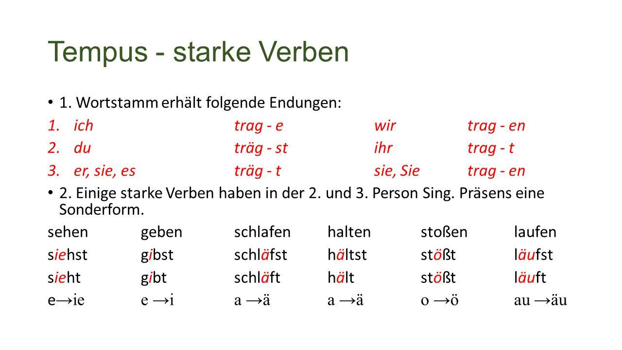 Tempus - starke Verben 1.
