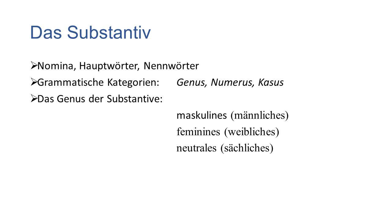 Das Substantiv  Nomina, Hauptwörter, Nennwörter  Grammatische Kategorien: Genus, Numerus, Kasus  Das Genus der Substantive: maskulines (männliches) feminines (weibliches) neutrales (sächliches)