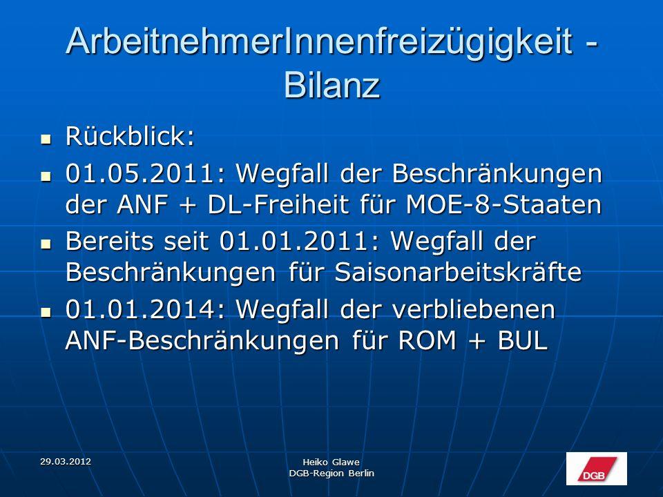 """29.03.2012 Heiko Glawe DGB-Region Berlin ArbeitnehmerInnenfreizügigkeit - Bilanz MOE-10-""""Gründerboom MOE-10-""""Gründerboom"""