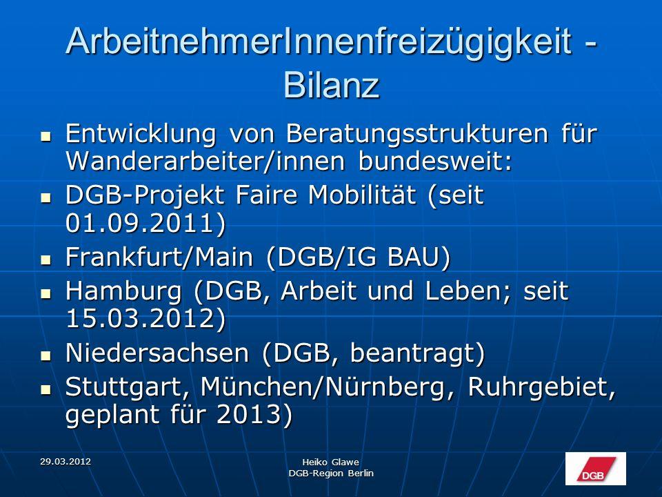 29.03.2012 Heiko Glawe DGB-Region Berlin ArbeitnehmerInnenfreizügigkeit - Bilanz Entwicklung von Beratungsstrukturen für Wanderarbeiter/innen bundesweit: Entwicklung von Beratungsstrukturen für Wanderarbeiter/innen bundesweit: DGB-Projekt Faire Mobilität (seit 01.09.2011) DGB-Projekt Faire Mobilität (seit 01.09.2011) Frankfurt/Main (DGB/IG BAU) Frankfurt/Main (DGB/IG BAU) Hamburg (DGB, Arbeit und Leben; seit 15.03.2012) Hamburg (DGB, Arbeit und Leben; seit 15.03.2012) Niedersachsen (DGB, beantragt) Niedersachsen (DGB, beantragt) Stuttgart, München/Nürnberg, Ruhrgebiet, geplant für 2013) Stuttgart, München/Nürnberg, Ruhrgebiet, geplant für 2013)