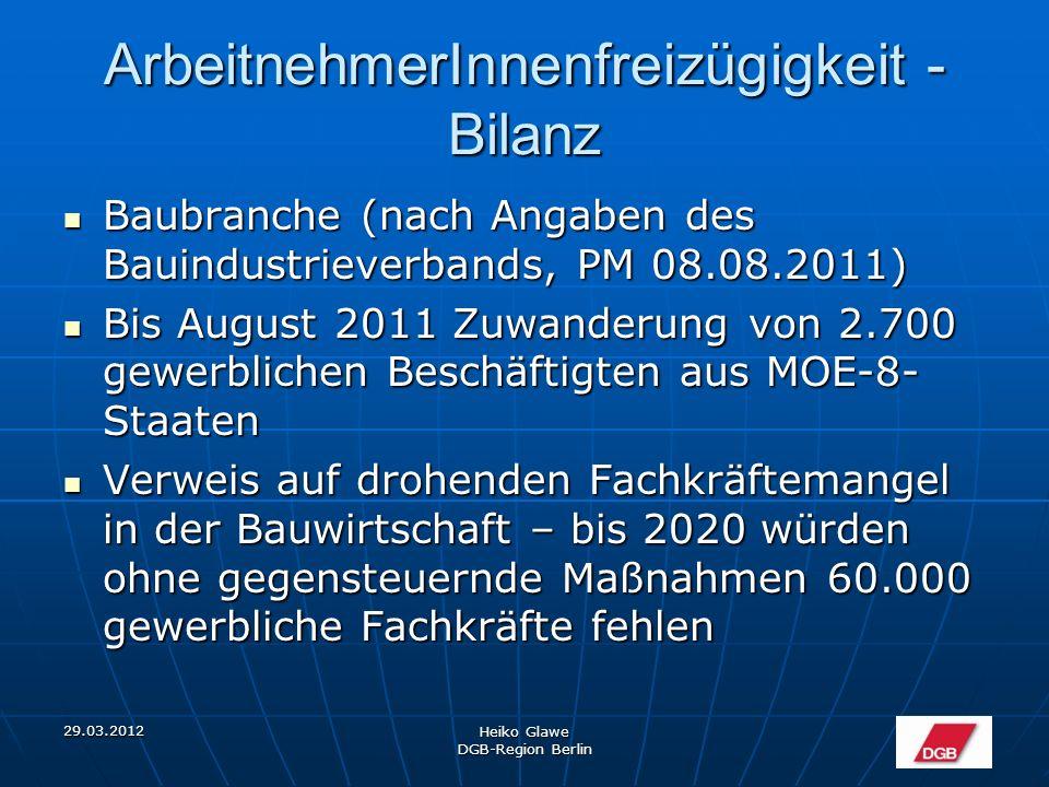 29.03.2012 Heiko Glawe DGB-Region Berlin ArbeitnehmerInnenfreizügigkeit - Bilanz IAB bleibt bei der These, dass Zuwanderung nur sehr begrenzt erfolgt und auch weiterhin erfolgen wird.