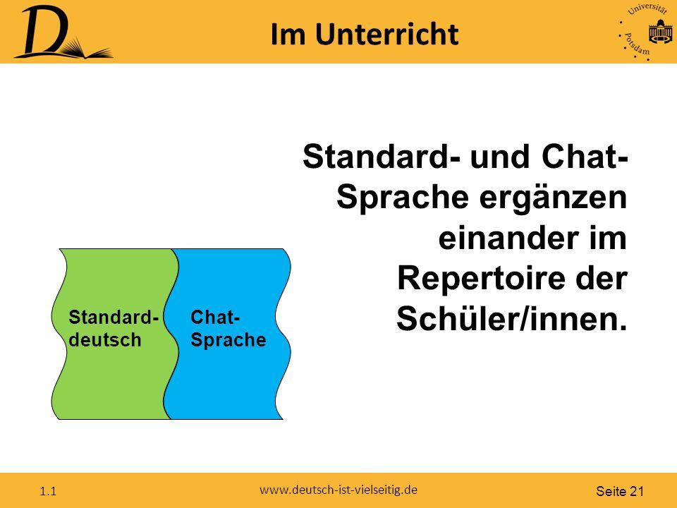 Seite 21 www.deutsch-ist-vielseitig.de 1.1 Im Unterricht Standard- deutsch Chat- Sprache Standard- und Chat- Sprache ergänzen einander im Repertoire der Schüler/innen.