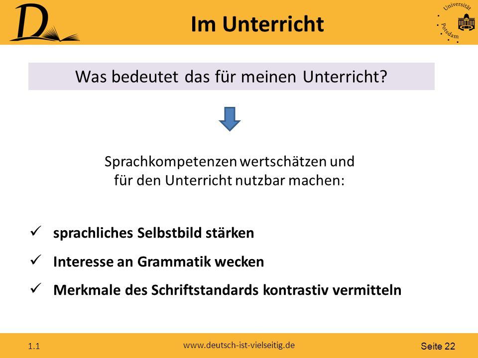 Seite 22 www.deutsch-ist-vielseitig.de 1.1 Im Unterricht Was bedeutet das für meinen Unterricht.