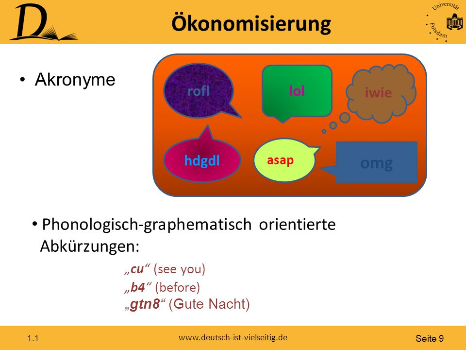 """Seite 9 www.deutsch-ist-vielseitig.de 1.1 Ökonomisierung Akronyme asap rofl hdgdl lol omg iwie Phonologisch-graphematisch orientierte Abkürzungen: """"cu (see you) """"b4 (before) """"gtn8 (Gute Nacht)"""