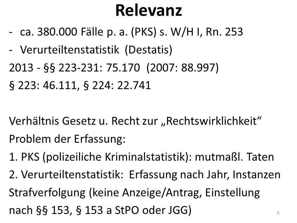 Relevanz -ca. 380.000 Fälle p. a. (PKS) s. W/H I, Rn.