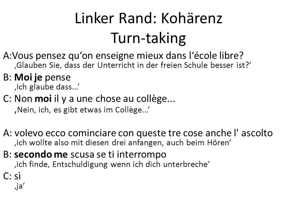 Linker Rand: Kohärenz Turn-taking A:Vous pensez qu'on enseigne mieux dans l'école libre? 'Glauben Sie, dass der Unterricht in der freien Schule besser
