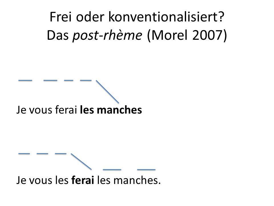 Frei oder konventionalisiert? Das post-rhème (Morel 2007) Je vous ferai les manches Je vous les ferai les manches.