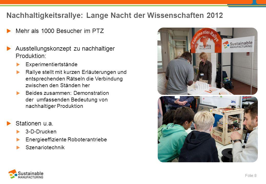 Nachhaltigkeitsrallye: Lange Nacht der Wissenschaften 2012  Mehr als 1000 Besucher im PTZ  Ausstellungskonzept zu nachhaltiger Produktion:  Experim