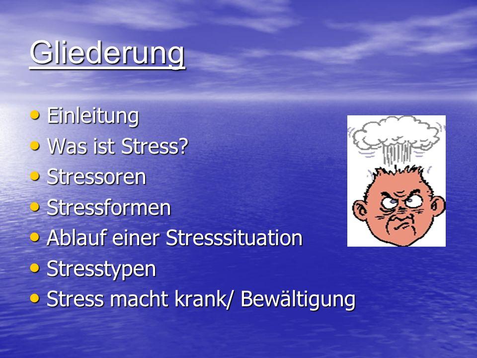 Gliederung Einleitung Einleitung Was ist Stress? Was ist Stress? Stressoren Stressoren Stressformen Stressformen Ablauf einer Stresssituation Ablauf e