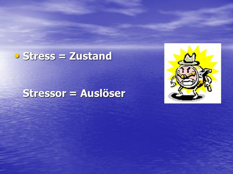 Stress = Zustand Stressor = Auslöser Stress = Zustand Stressor = Auslöser