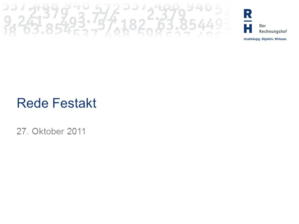 RH Rede Festakt 27. Oktober 2011
