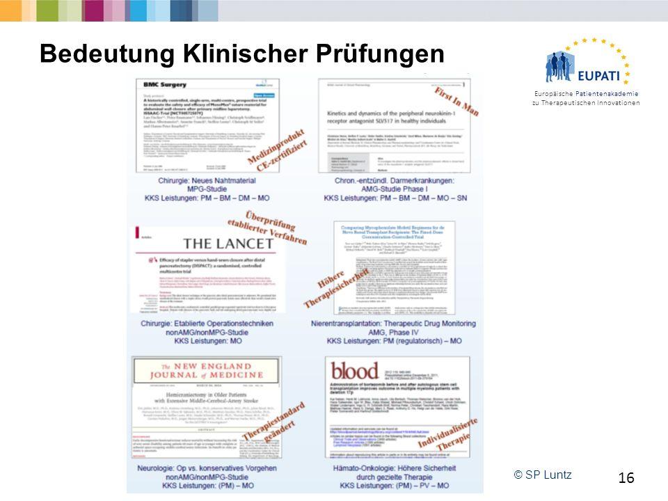 Europäische Patientenakademie zu Therapeutischen Innovationen 16 Bedeutung Klinischer Prüfungen © SP Luntz