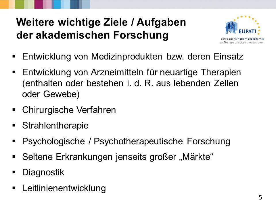 Europäische Patientenakademie zu Therapeutischen Innovationen  Entwicklung von Medizinprodukten bzw.